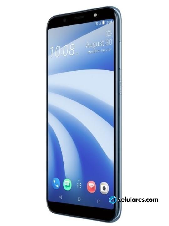Fotografía grande Varias vistas del HTC U12 Life Azul y Púrpura. En la pantalla se muestra Varias vistas