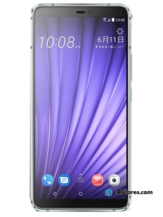 Fotografía grande Varias vistas del HTC U19e Púrpura. En la pantalla se muestra Varias vistas