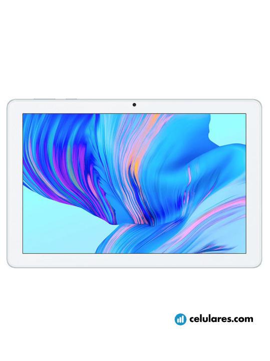 Fotografía grande Varias vistas del Tablet Huawei Honor Pad X6 Menta. En la pantalla se muestra Varias vistas