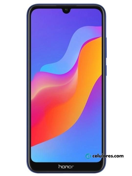 Fotografía grande Varias vistas del Huawei Honor Play 8A Azul y Dorado y Negro y Rojo. En la pantalla se muestra Varias vistas