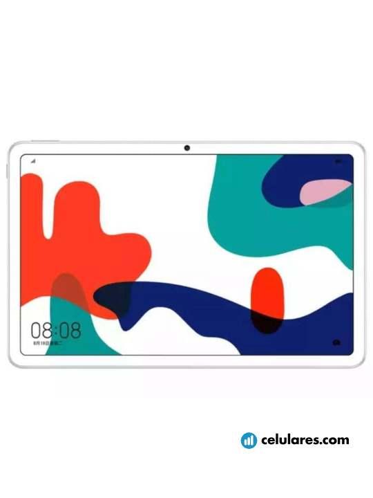 Fotografía grande Varias vistas del Tablet Huawei MatePad Blanco. En la pantalla se muestra Varias vistas