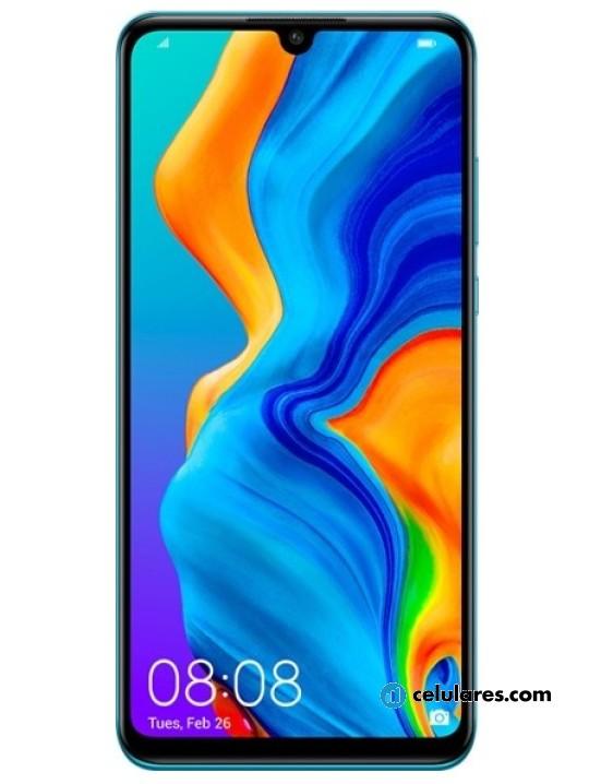 Fotografía grande Varias vistas del Huawei P30 Lite Azul y Blanco perla y Negro. En la pantalla se muestra Varias vistas