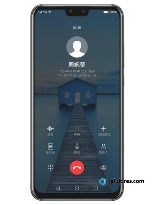 Fotografía grande Varias vistas del Huawei Y9 (2019) Azul y Negro y Púrpura. En la pantalla se muestra Varias vistas