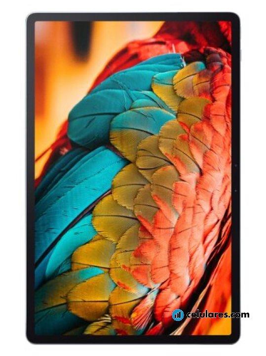 Fotografía grande Varias vistas del Tablet Lenovo Tab P11 Pro Gris. En la pantalla se muestra Varias vistas