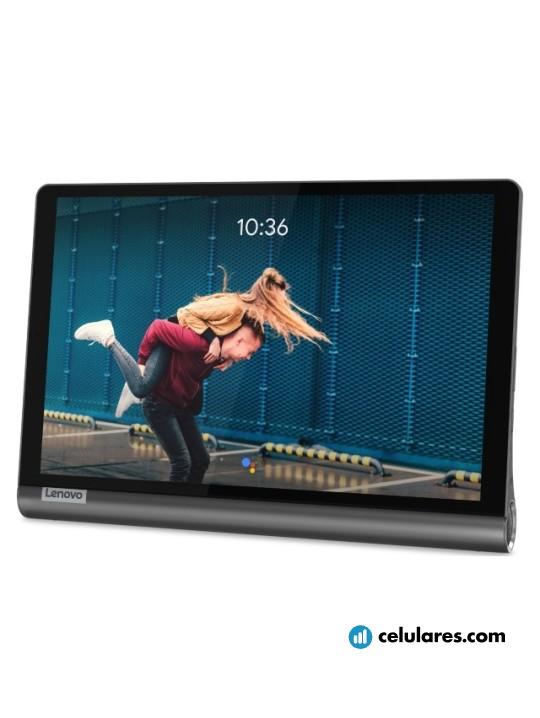 Fotografía grande Varias vistas del Tablet Lenovo Yoga Smart Tab Gris. En la pantalla se muestra Varias vistas