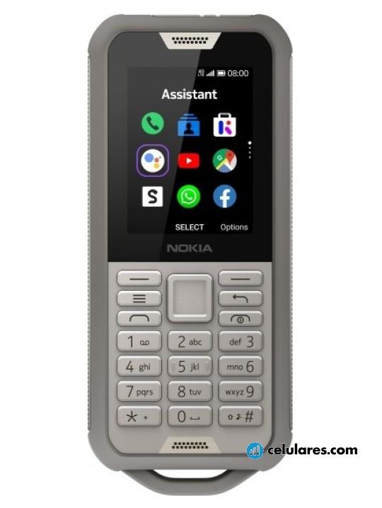 Fotografía grande Varias vistas del Nokia 800 Tough Gris y Negro. En la pantalla se muestra Varias vistas