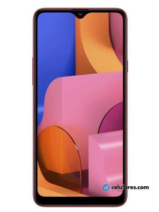Fotografía grande Varias vistas del Samsung Galaxy A20s Azul y Negro y Rojo y Verde. En la pantalla se muestra Varias vistas