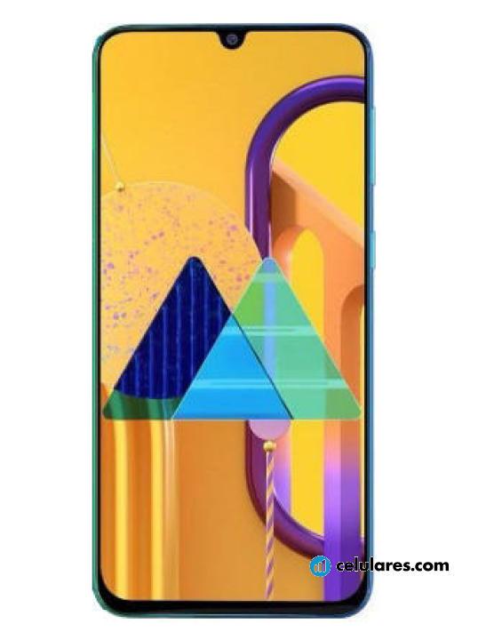 Fotografía grande Varias vistas del Samsung Galaxy M10s Azul y Negro. En la pantalla se muestra Varias vistas