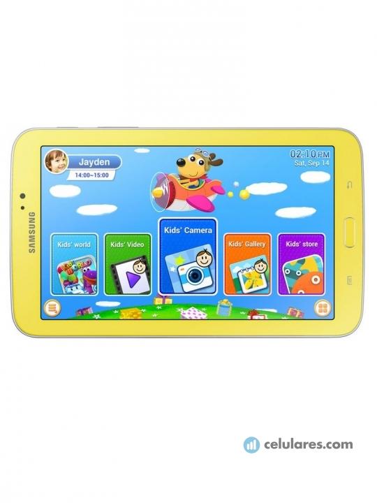 Fotografía grande Frontal del Tablet Samsung Galaxy Tab 3 Kids Amarillo y Naranja. En la pantalla se muestra Pantalla de inicio