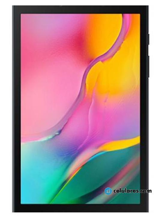 Fotografía grande Varias vistas del Tablet Samsung Galaxy Tab A 8.0 (2019) Gris y Plata y Negro. En la pantalla se muestra Varias vistas