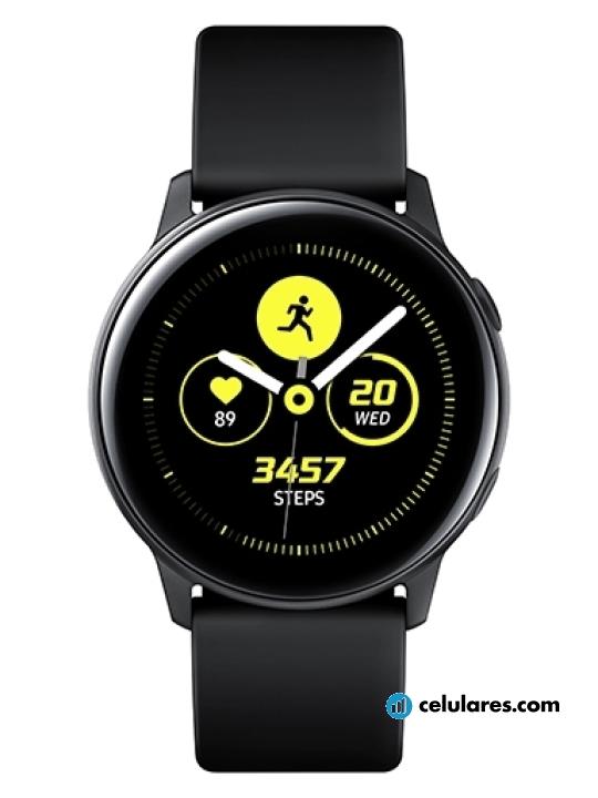 Fotografía grande Varias vistas del Samsung Galaxy Watch Active Plata y Negro y Rosa y Verde. En la pantalla se muestra Varias vistas