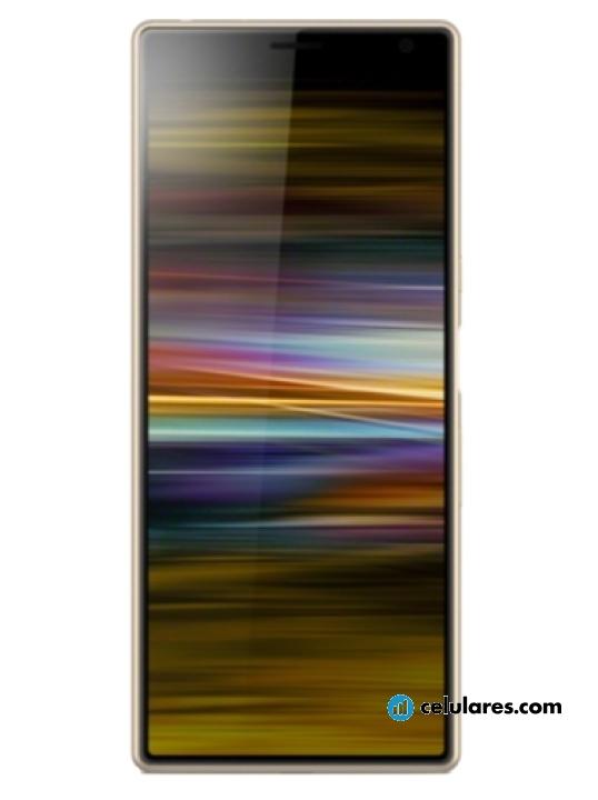 Fotografía grande Varias vistas del Sony Xperia 10 Plus Plata y Dorado y Negro. En la pantalla se muestra Varias vistas