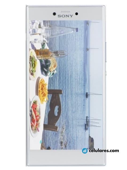 Fotografía grande Varias vistas del Sony Xperia R1 Plus Negro y Plata. En la pantalla se muestra Varias vistas
