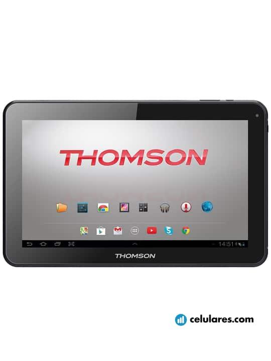 Fotografía grande Varias vistas del Tablet Thomson Teo 10 Negro. En la pantalla se muestra Varias vistas
