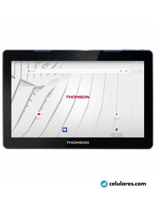 Fotografía grande Varias vistas del Tablet Thomson Teo 13P Negro. En la pantalla se muestra Varias vistas