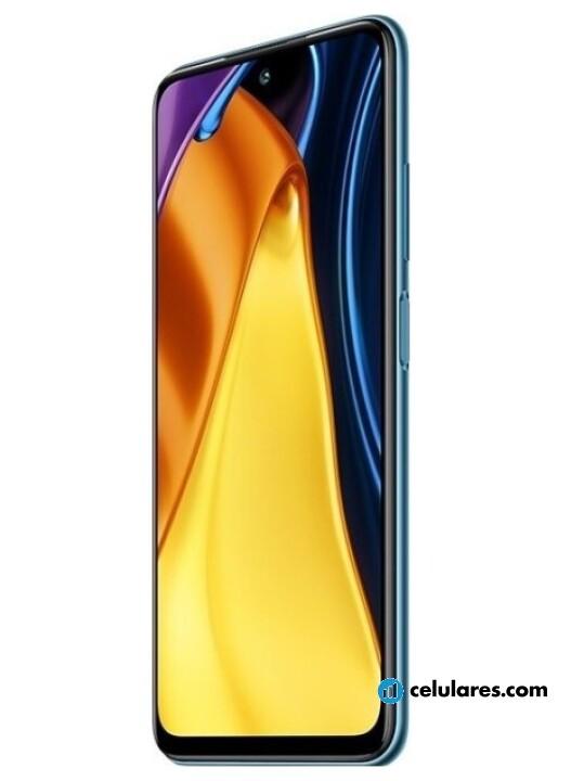 Fotografías Frontal de Xiaomi Poco M3 Pro Azul. Detalle de la pantalla: Imagen promocional en pantalla